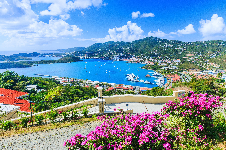 Caribbean St Thomas US Virgin Islands. Panoramic view.